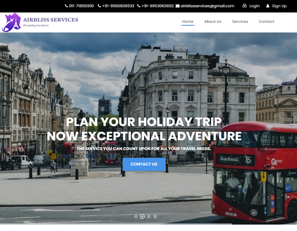 Website Desiging for travel Industries